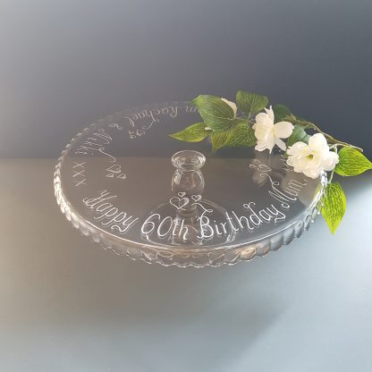 60th birthday hand engraved glass cakestand personalised with any message