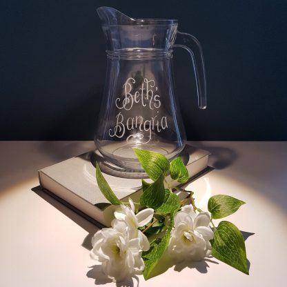 hand engraved glass sangria jug with your own message