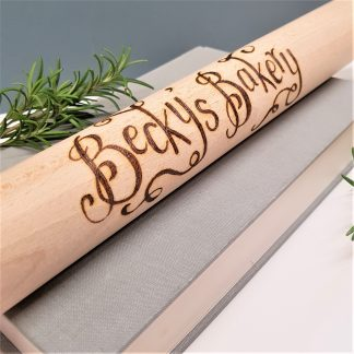 wooden rolling pin hand engraved with your own message in our calligraphy font