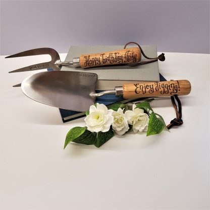 garden hand tools personalised with your own message fork and trowel