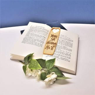 5th Anniversary gift personalised wooden bookmark for wife2
