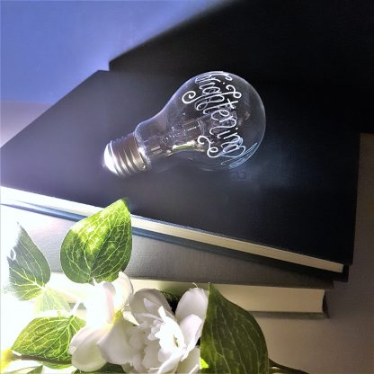 brightening lives hand engraved lightbulb gift for electrician