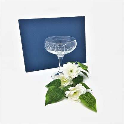 bubble therapy personalised champagne coupe glass3