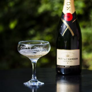 bubble therapy personalised champagne glass lifestyle shot