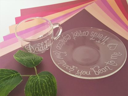 daddy words cannot espresso how much you bean to me personalised glass espresso cup and saucer