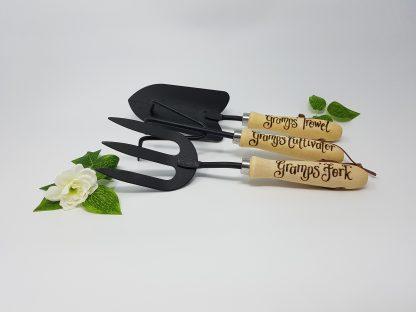 gramps trowel fork and cultivator personalised garden tool set