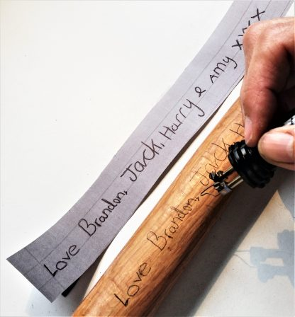 personalised wooden handle claw hammer copy loved ones handwriting