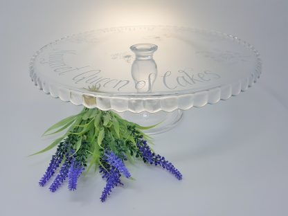 happy 70th birthday margaret queen of cakes personalised glass cake stand