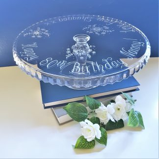 happy 80th birthday nanny persoanlised glass cake stand