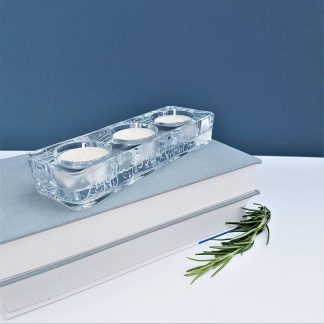 Hand Engraved Glass Tealight Candle Holder hand engraved with your own message