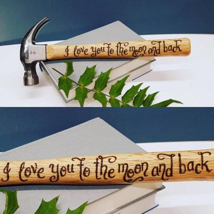 Personalised Hammer, Moon and Back Gift, Unusual Present for Fathers Day, Unique Gift from Child, Daddy Birthday Gift, Gift for Husband