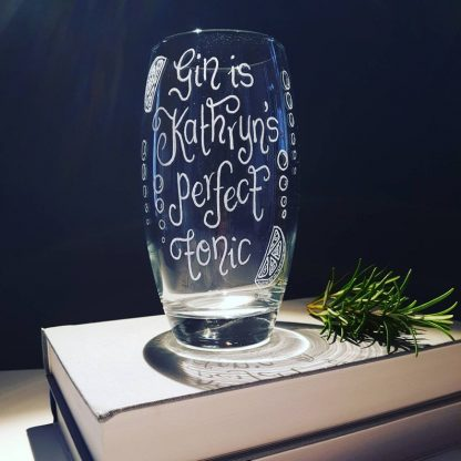 Personalised Gin Glass, Hand Engraved Custom Gin Glass, Mummy's Gin Glass, 30th Birthday, Mojito Gin and Tonic Highball, Gin & Bear It Glass
