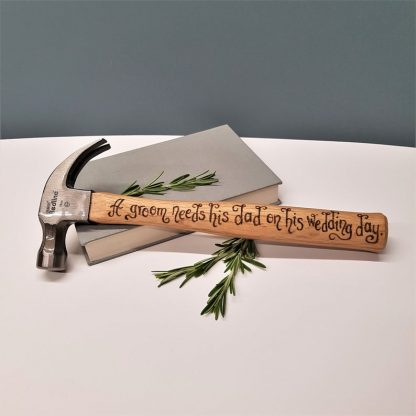 Personalised Hammer, Gift from Groom to Dad, Father of the Groom Present, Thank you Dad Gift from Son, Wedding Day Gift, Unusual Dad Gift