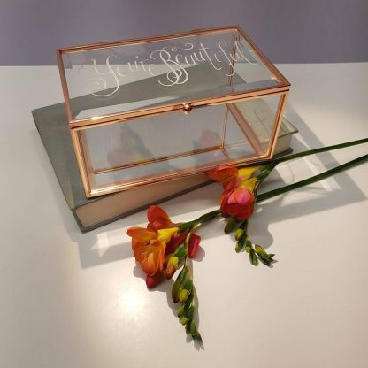 Personalised Glass Jewellery Box, Hand Engraved Custom Gift Idea, Birthday or Wedding Gift, Bride To Be, Trinket Box, Rose Gold, Engagement,