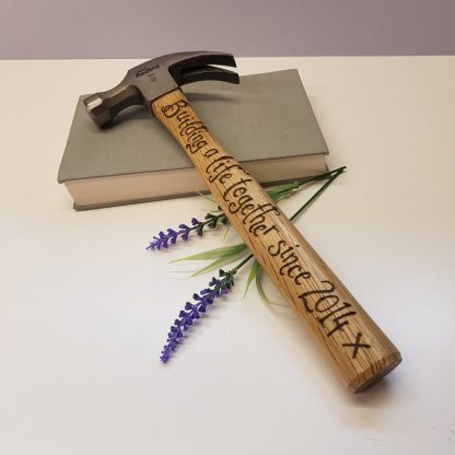 Personalised Hammer, Wooden Anniversary Present, 5th Anniversary Gift, Gift for Husband, Building Life Together since 2014, Unusual Gifts