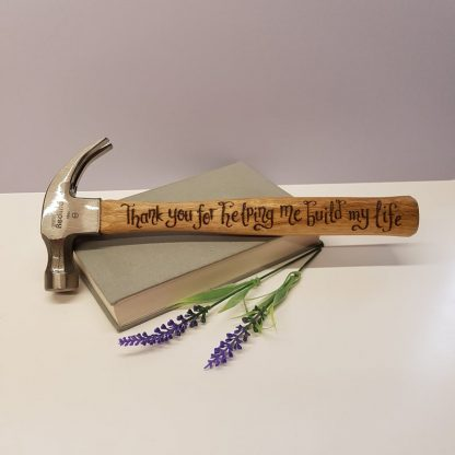 personalised thank you hammer for building my life hand engraved
