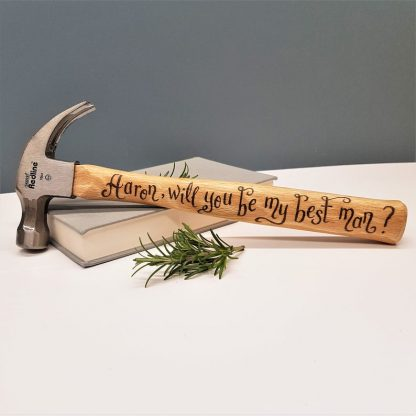 Personalised Hammer, Best Man Gift, Wedding Day Thank You Gift, Custom Hammer for Groomsman, Present for Best Man, Father of the Bride Gift