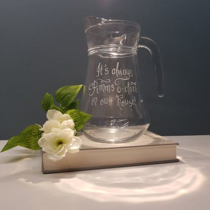 Personalised Glass Pimms Jug, Custom Birthday Gift, Pimms Pitcher, Unique Party Cocktail Jug, Garden Party Jug, Pimms O'Clock Jug Gift