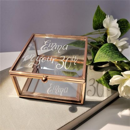 Personalised Trinket Box, Hand Engraved Gift for Bride, Unique Bridesmaid Present, Custom Rose Gold Jewellery Box, Mother of the Bride