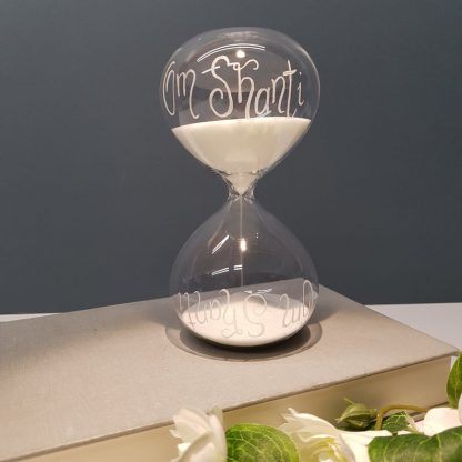 Personalised Hourglass, Romantic Birthday Gift, Custom Hour Glass, Unique Wedding Gift, Hand Engraved Sand Timer, Love is Timeless Present,
