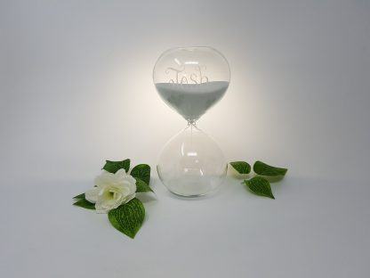 personalised hand engraved glass sand timer