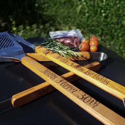 personalised barbecue BBQ tools set with any message
