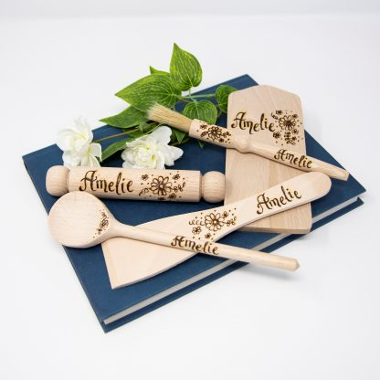 childs personalised wooden baking set cooking toy