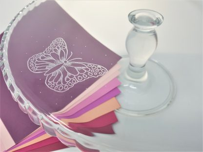 personalised glass cake stand with butterfly design