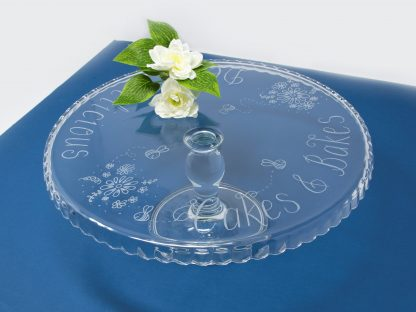 personalised glass cake stand with flowers and bees design prop 43