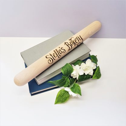 personalised wooden rolling pin with your own message in our calligraphy font