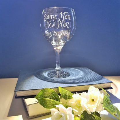 same man new plan personalised gin and tonic glass rescheduled wedding2
