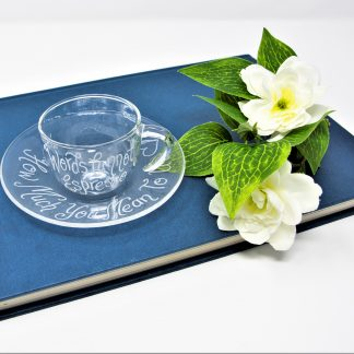 words cannot espresso how much you mean to me personalised glass cup and saucer prop 43