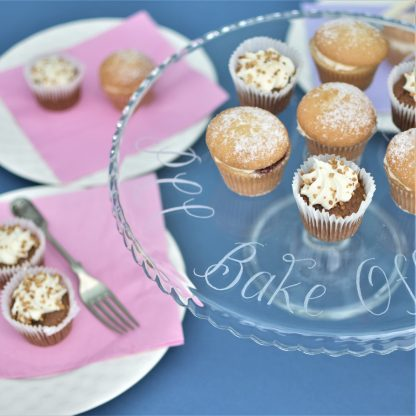 glass pedestal cake stand personalised with your own message in a calligraphy font