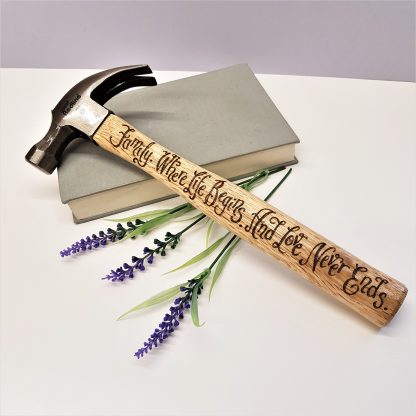 Personalised hammer husband gift family where life begins and love never ends