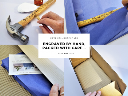 packing a hand engraved hammer cove calligraphy