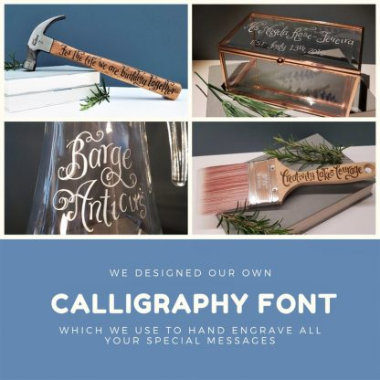 samples of our calligraphy font used to engrave glass and wood gifts