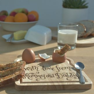 personalised wooden breakfast board for dippy eggs gift for child