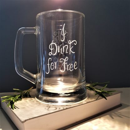 i drink for free father of the bride hand engraved personalised tankard