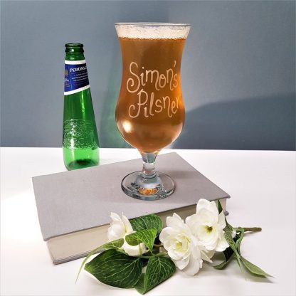 Personalised Pilsner Lager Glass hand engraved with any message in calligraphy font