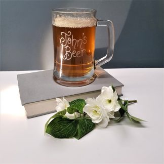 Personalised Ale Beer Tankard Mug Glass hand engraved with any message in calligraphy font