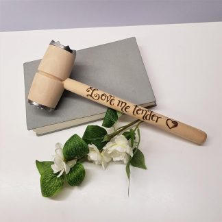 personalised meat tenderiser hammer wooden love me tender