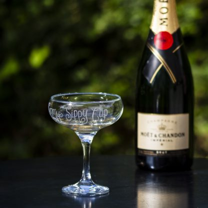 personalised champagne glass lifestyle shot