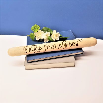 Daddy's pizza is the best hand engraved wooden rolling pin