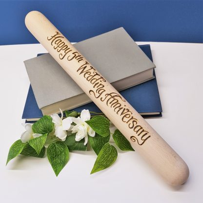 Happy 5th Wedding Anniversary wooden rolling pin personalised in calligraphy font