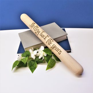 Rolling back the years 5th Wedding Anniversary wooden rolling pin personalised in calligraphy font2