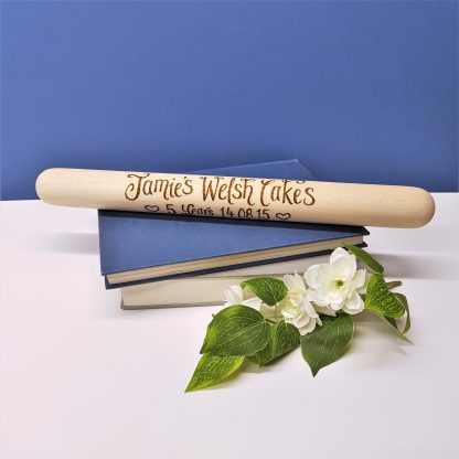 personalised welsh cakes rolling pin for 5th anniversary.2