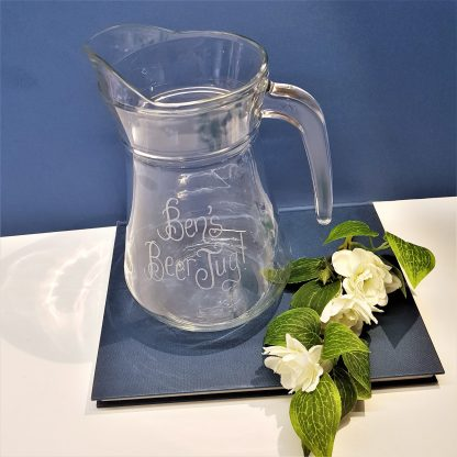 personalised glass beer jug hand engraved with any message
