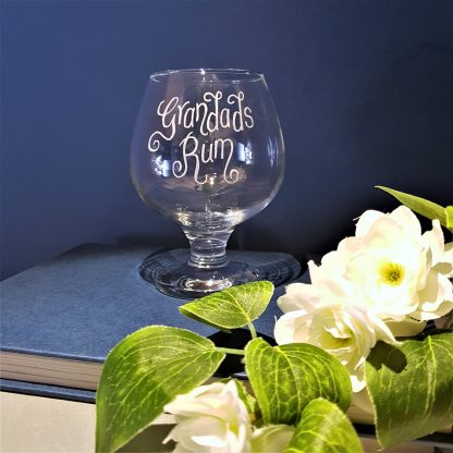 Personalised rum snifter glass hand engraved with any message