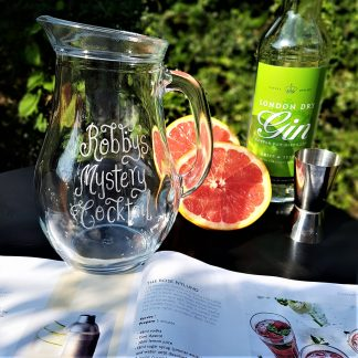 personalised cocktail jug hand engraved with any message in our calligraphy font