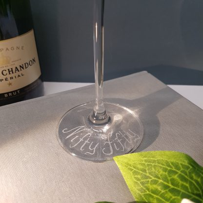 Personalised Dartington Prosecco Glass, hand engraved with any message for a special occasion in our freehand calligraphy font.